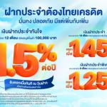เงินฝากไทยเครดิต, ฝากประจำดอกเบี้ยสูง 1.5% ต่อปี